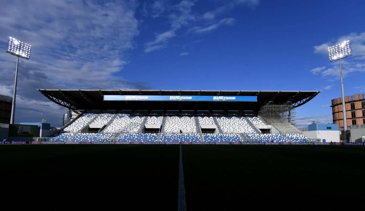 Vista frontale della tribuna del Mapei Stadium