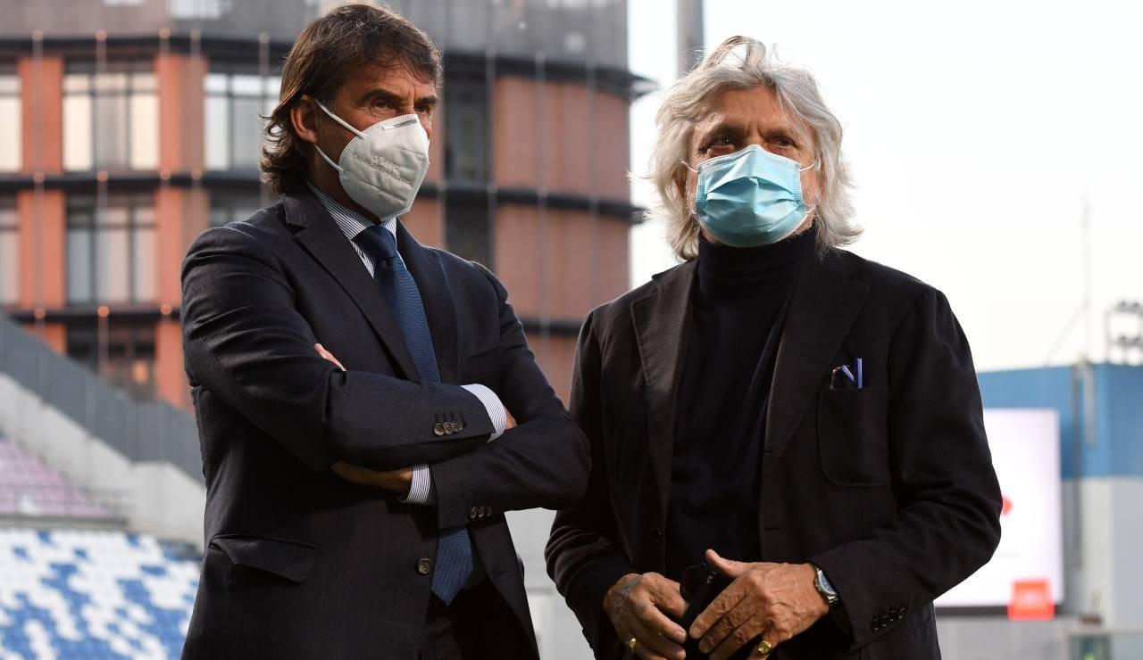 Massimo Carnevali a colloquio con il presidente della Sampdoria Ferrero