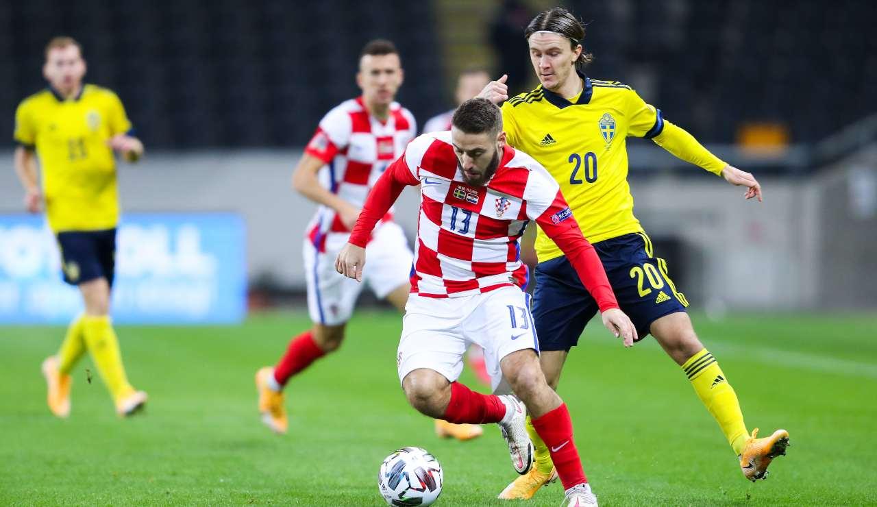 Nikola Vlasic durante un impegno con la Croazia