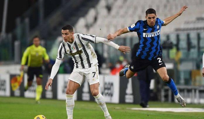 Ronaldo e Hakimi in Juventus-Inter