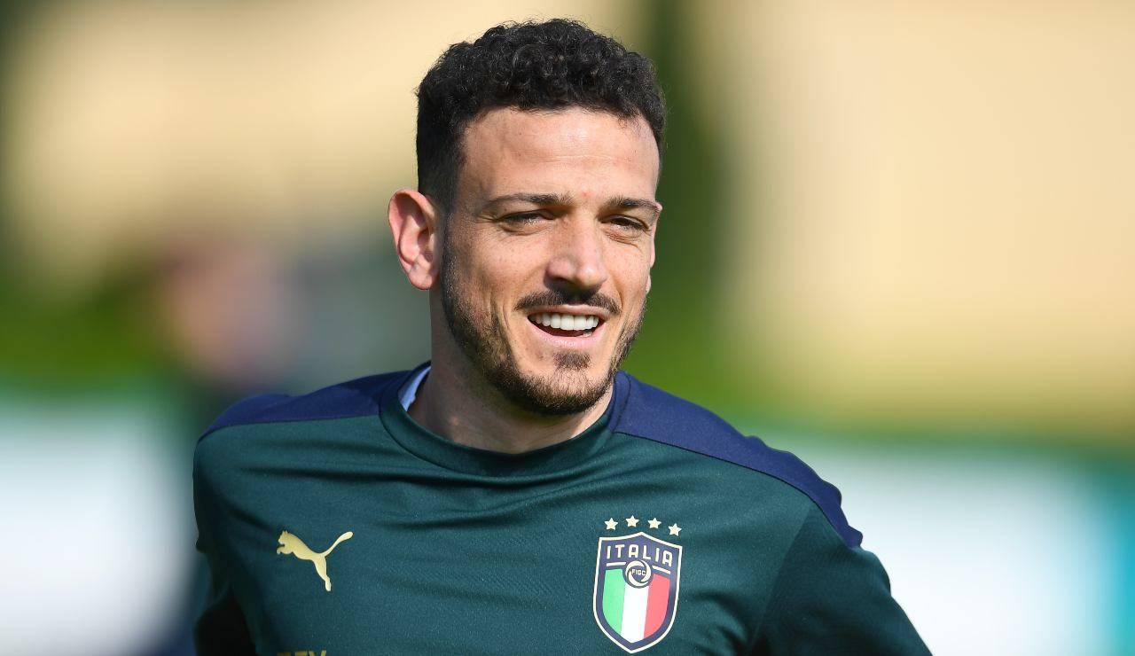 Florenzi con la maglia da allenamento dell'Italia