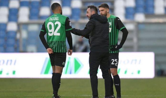 De Zerbi a colloquio con Berardi e Defrel