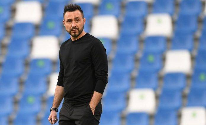 Roberto De Zerbi in panchina al Sassuolo
