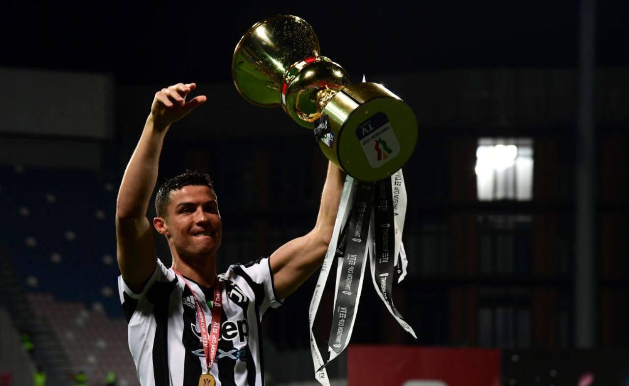 Cristiano Ronaldo con la Coppa Italia