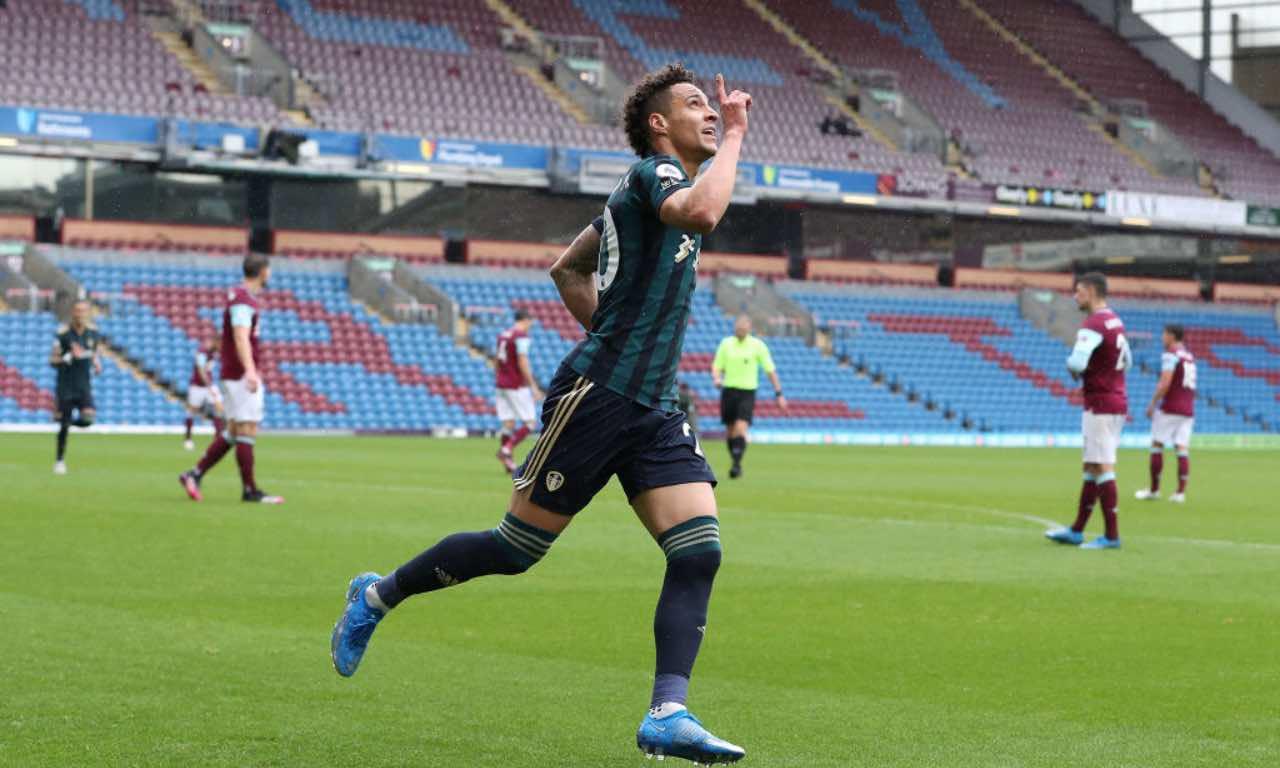 Rodrigo Moreno esulta dopo un gol col Leeds