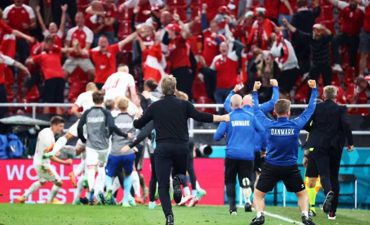 I festeggiamenti danesi al triplice fischio