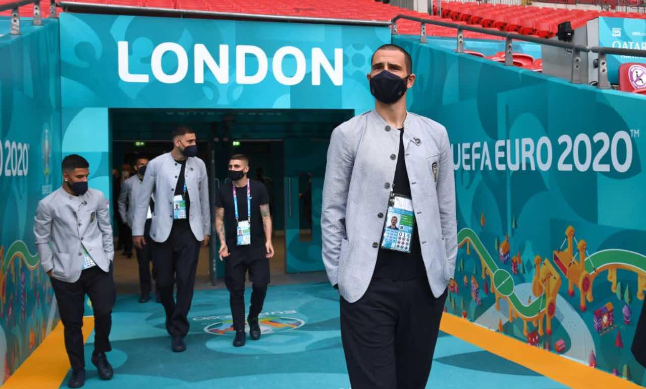 Bonucci e compagni appena arrivati allo stadio di Wembley