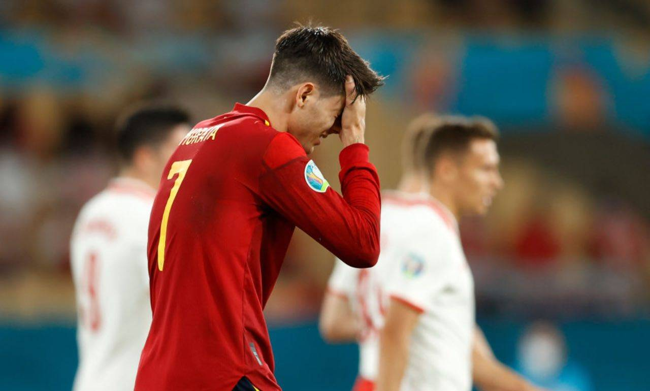 La delusione di Morata dopo il rigore sbagliato