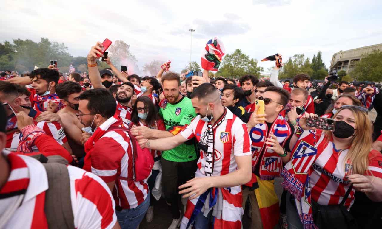I festeggiamenti dei tifosi dell'Atletico Madrid