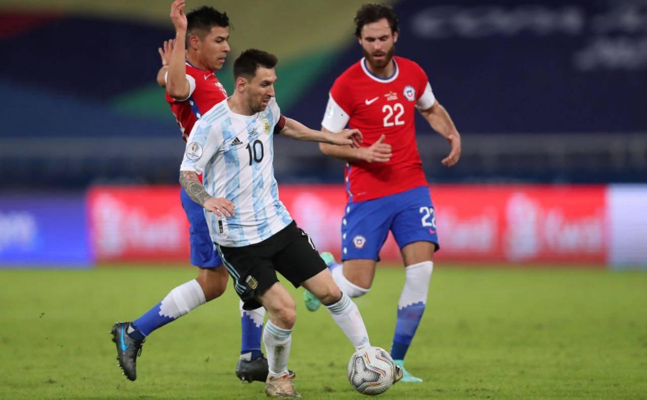 Messi e Brereton in Argentina-Cile di Copa America