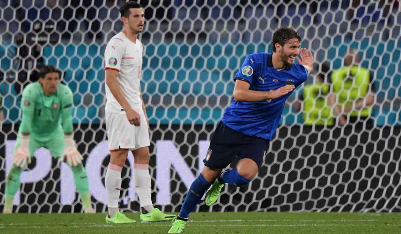 Locatelli esulta dopo il gol alla Svizzera