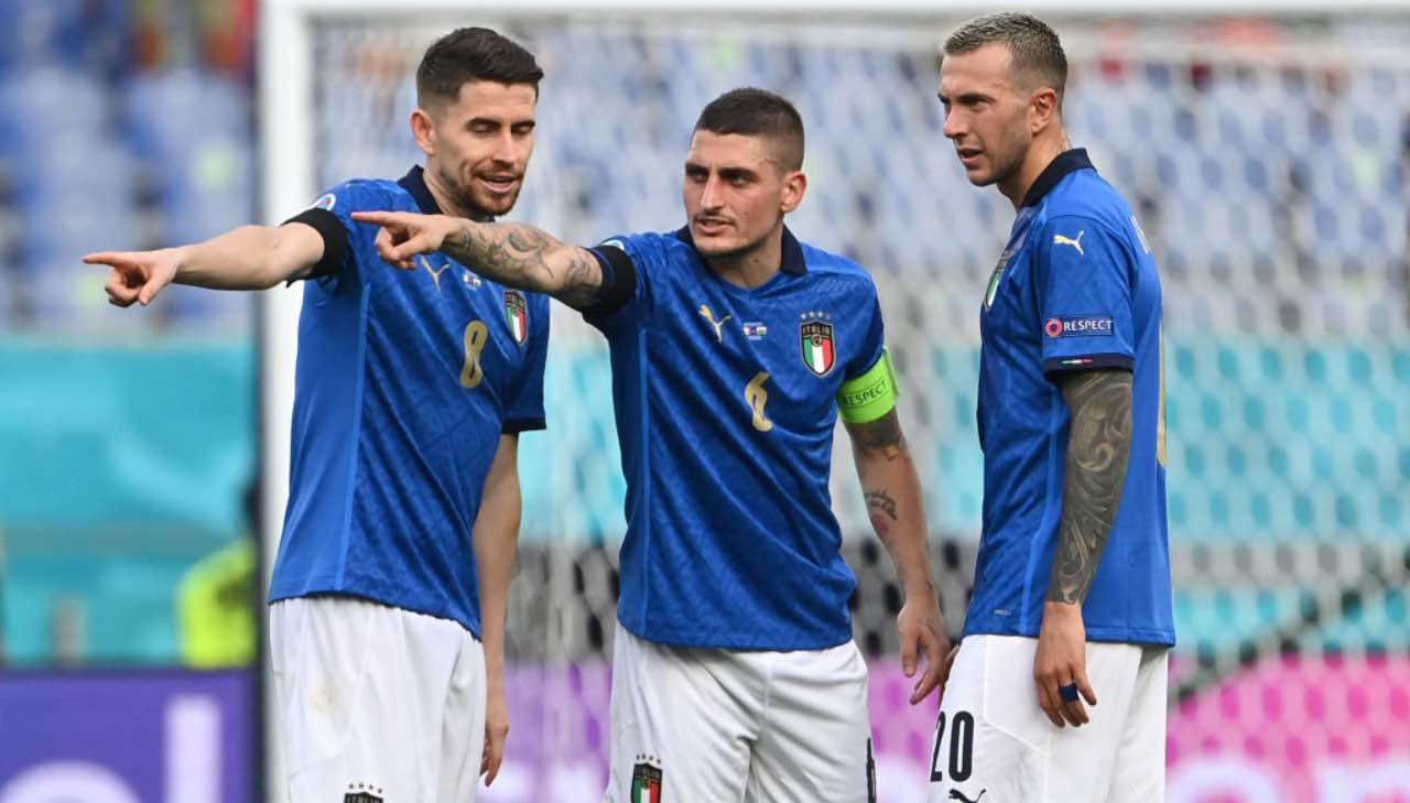 Jorginho, Verratti e Bernardeschi in Italia-Galles
