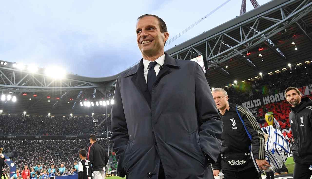 Massimiliano Allegri sorridente all'Allianz Stadium