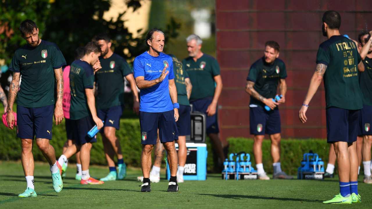 Mancini durante un allenamento
