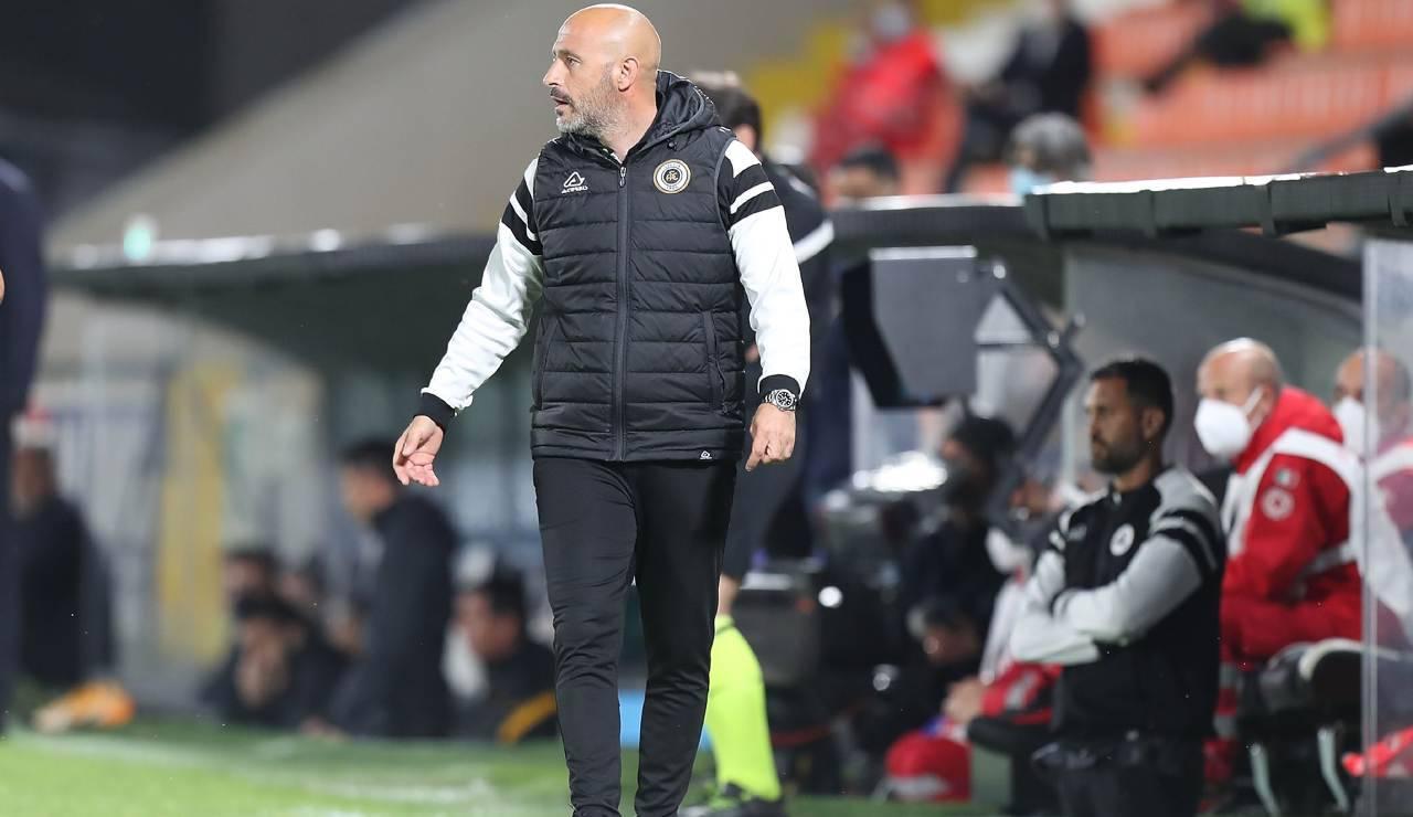 Vincenzo Italiano in una delle ultime sue apparizioni come allenatore dello Spezia