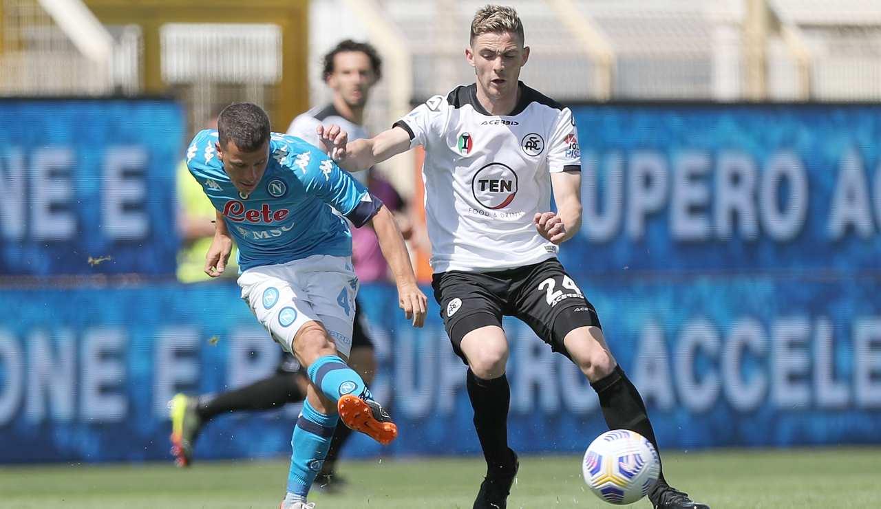 Demme in una fase di gioco della gara contro lo Spezia dello scorso campionato