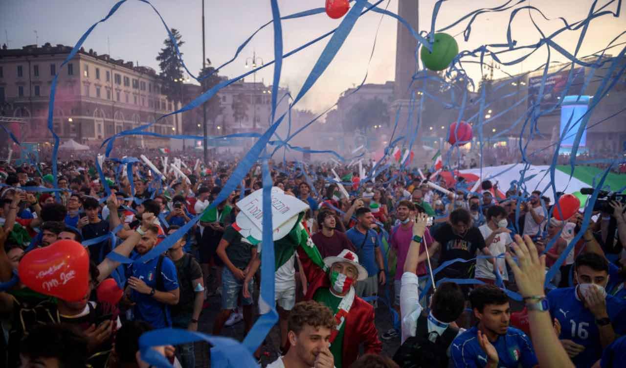 I tifosi italiani a Roma, in Piazza del Popolo
