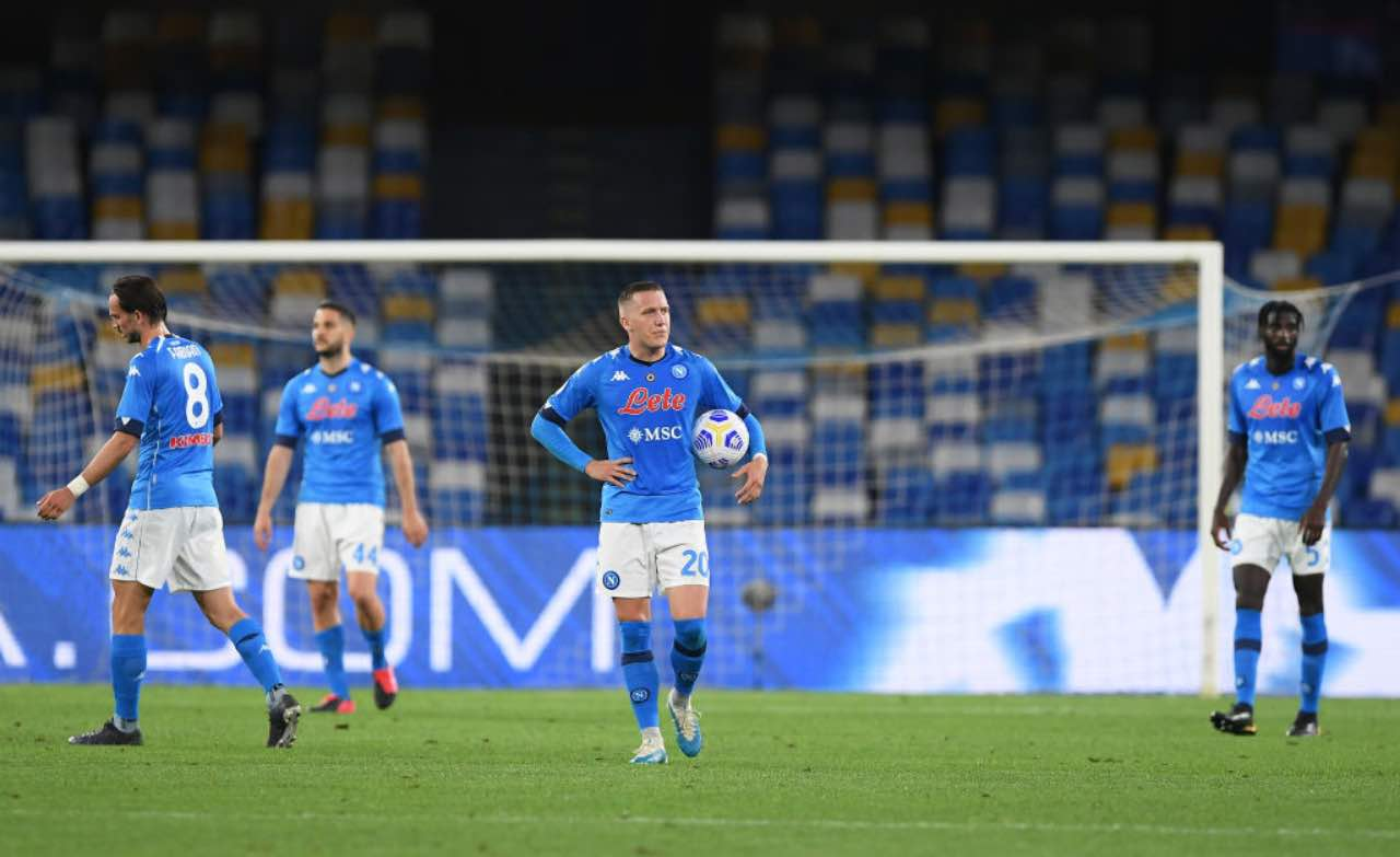 La delusione dei giocatori azzurri dopo Napoli-Verona