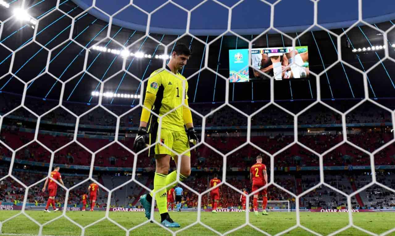 Courtois dopo il gol subito dall'Italia
