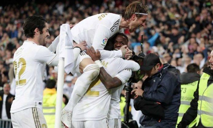 Esultanza dei giocatori del Real Madrid