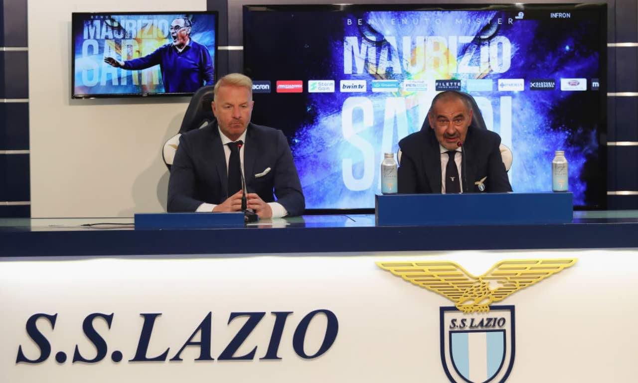 Sarri in conferenza stampa con la Lazio