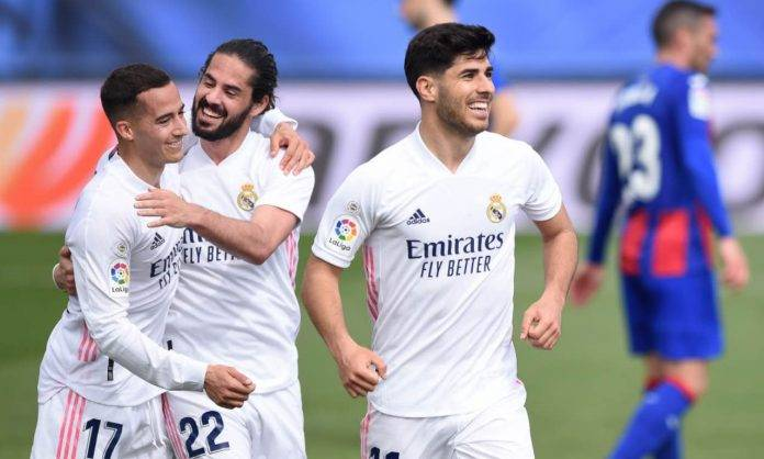 L'esultanza del Real Madrid contro l'Eibar