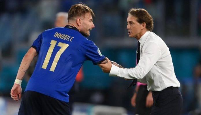 Immobile e Mancini parlano in campo
