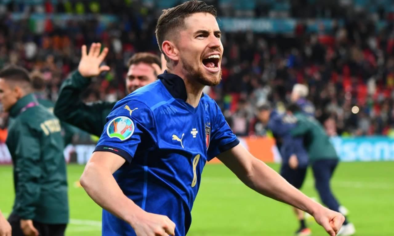 Italia, Jorginho festeggia dopo il gol alla Spagna