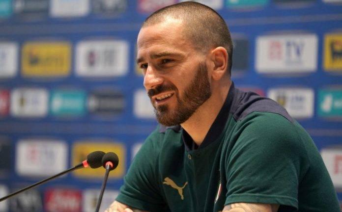 Bonucci in conferenza stampa con la Nazionale