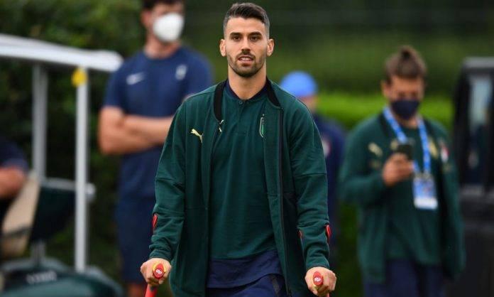 Spinazzola durante gli allenamenti dell'Italia