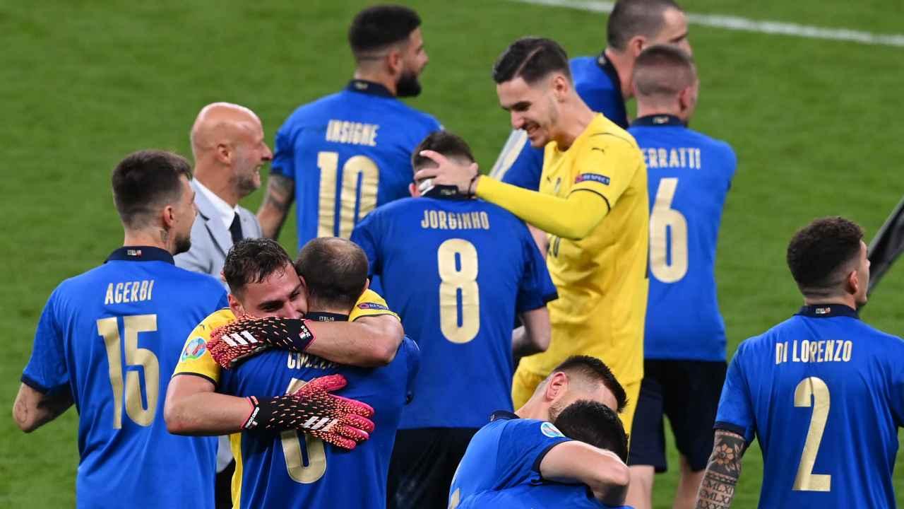 I giocatori dell'Italia festeggiano