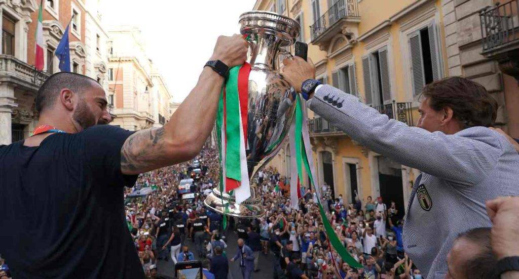 Bonucci Mancini festa Roma