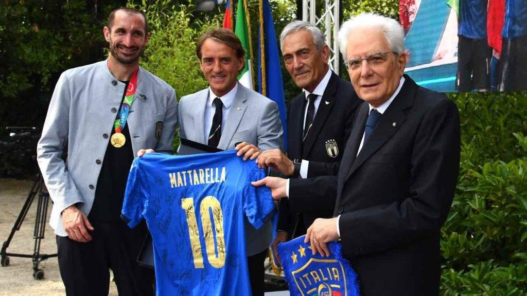 Mancini e Chiellini con Mattarella