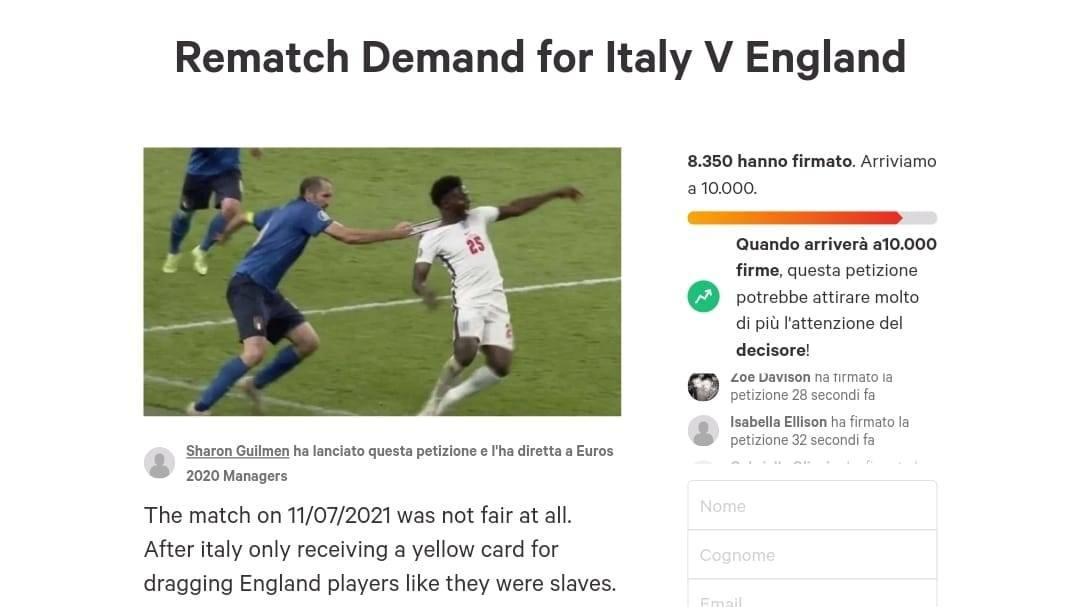 La petizione inglese per giocare di nuovo la finale contro l'Italia