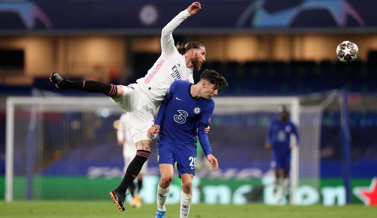 Sergio Ramos in azione durante il match contro il Chelsea