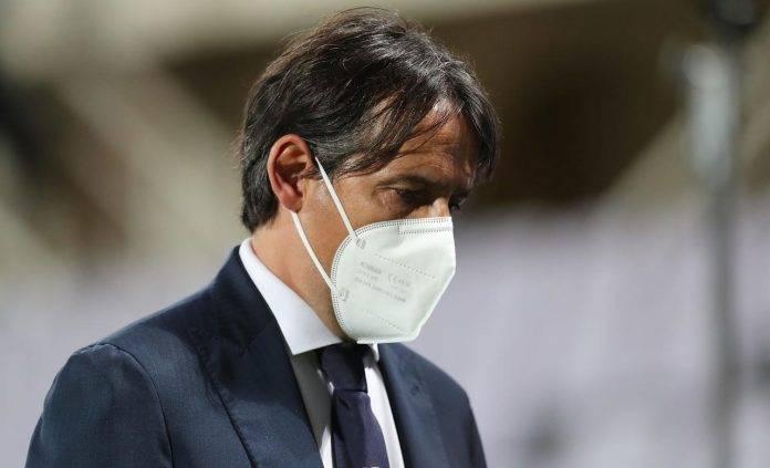 Simone Inzaghi con la mascherina