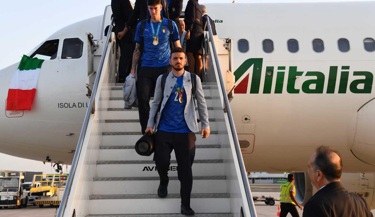 Florenzi al rientro in Italia dopo la vittoria dell'Europeo