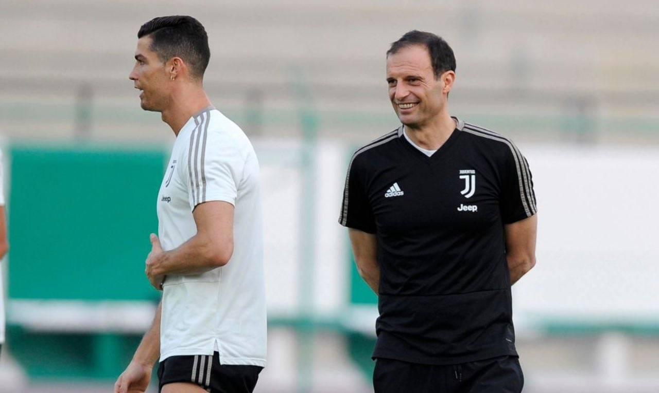 Ronaldo e Allegri in allenamento
