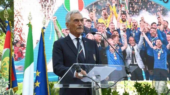 Gabriele Gravina raggiante dopo la vittoria dell'Italia ad Euro 2020
