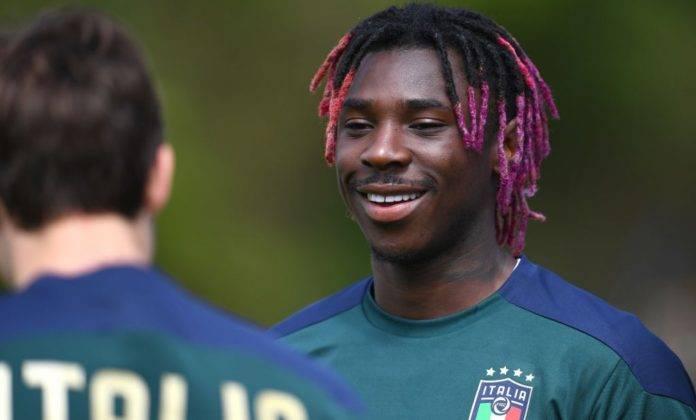 Moise Kean si allena con la Nazionale italiana
