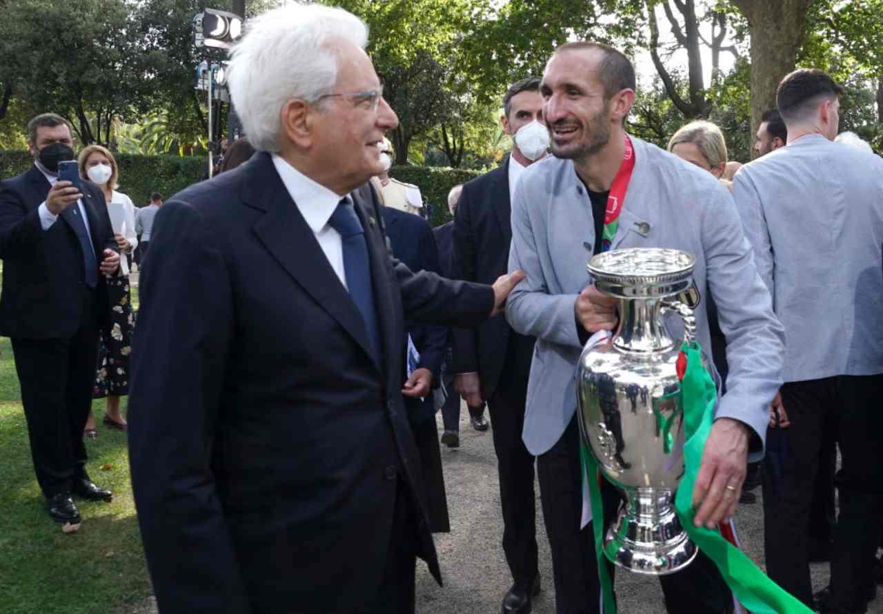 Chiellini con il presidente Mattarella