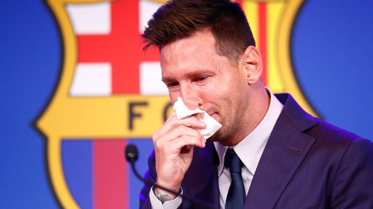 Messi addio barcellona PSG conferenza