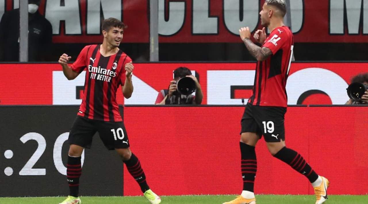 Brahim Diaz esulta per un gol in Milan-Cagliari