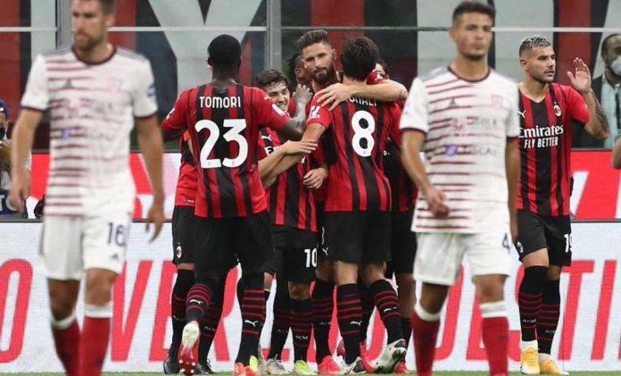 Il Milan esulta contro il Cagliar