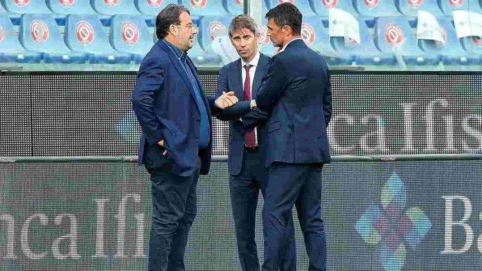 Maldini a colloquio con Faggiano e Massara