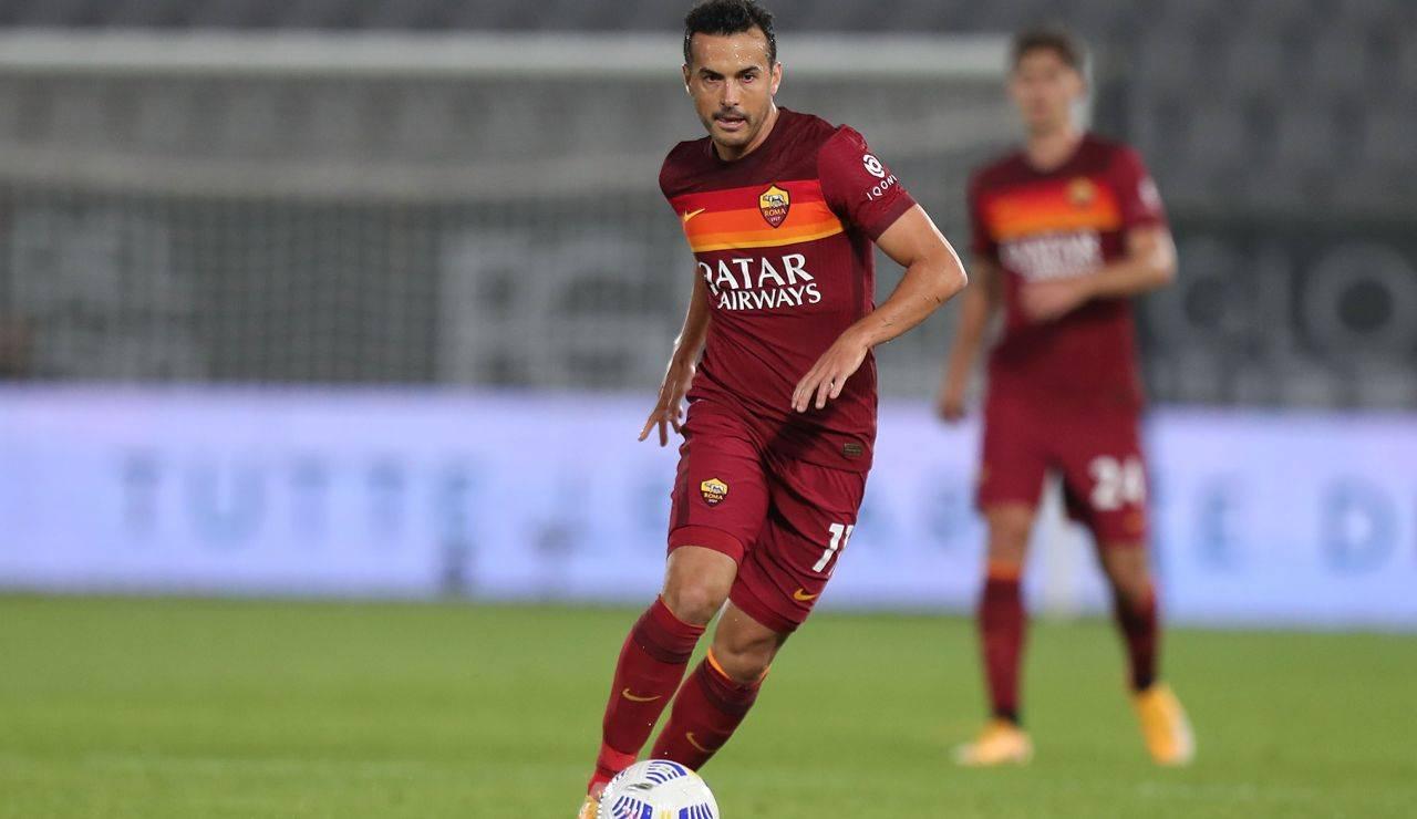 Pedro durante la sua ultima apparizione con la maglia della Roma in una gara ufficiale