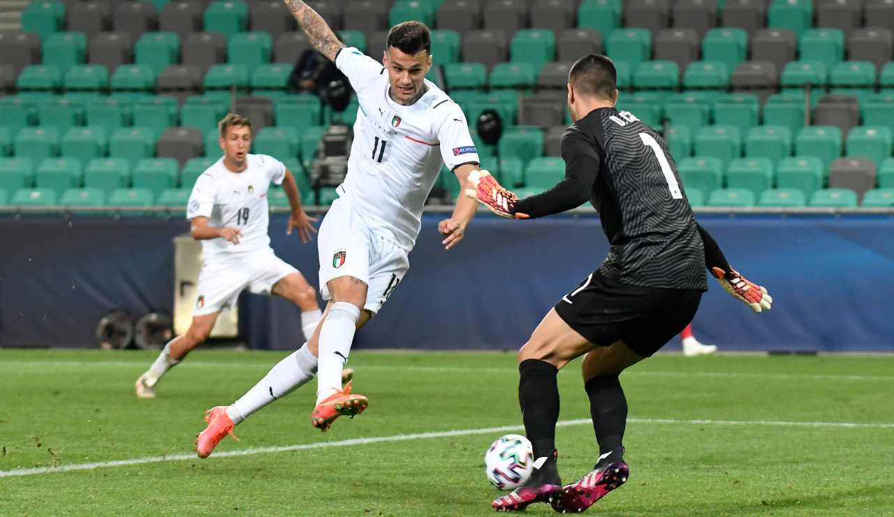 Scamacca in gol in una gara dell'Europeo U21