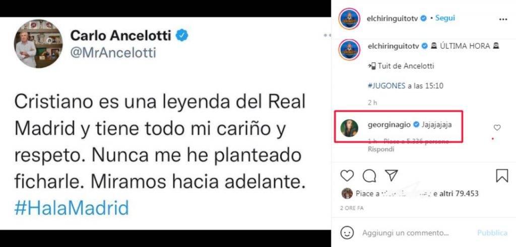 La risposta di Georgina sul tweet di Ancelotti su Ronaldo