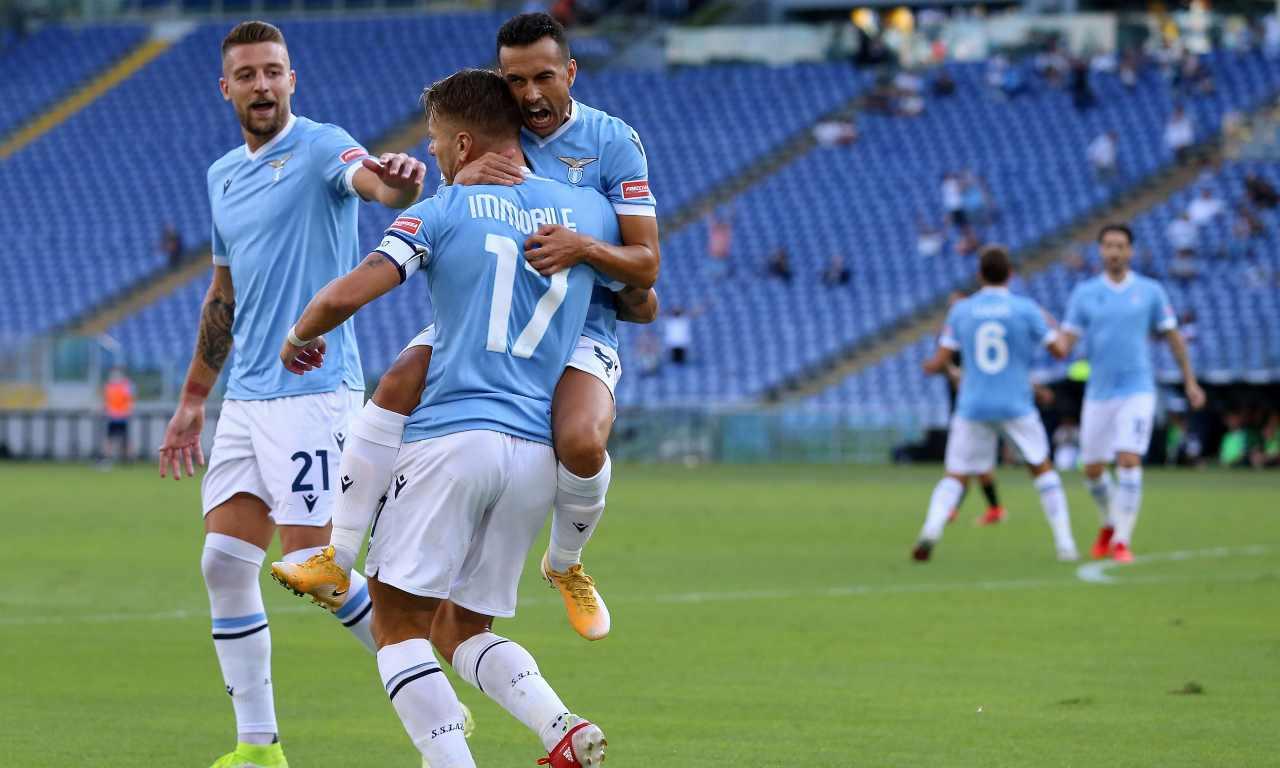 Lazio-Spezia: Immobile, Pedro e Milinkovic esultano