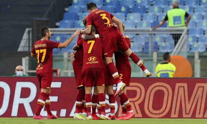 Roma-Trabzonspor, l'esultanza al gol di Cristante